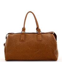Woven Design Duffle Bag in Brown