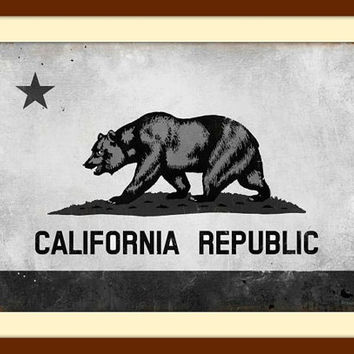 California Flag, Black and White Wall Art, Metal Wall Art, Vintage Decor, Vintage Signs, Vintage Metal Signs, Vintage Wall Art Travel Poster