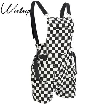 Weekeep Women Fashion Plaid Streetwear Playsuit Adjustable Strap Body Feminino Bodysuit 2018 Streetwear Cotton Rompers Overalls