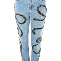 Limited Edition MOTO Rope Embellished Mom Jeans | Topshop