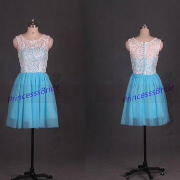 2014 short blue tulle ivory lace bridesmaid dresses,discount bridesmaid gowns,cheap cute dress for wedding party under 100,prom dress.
