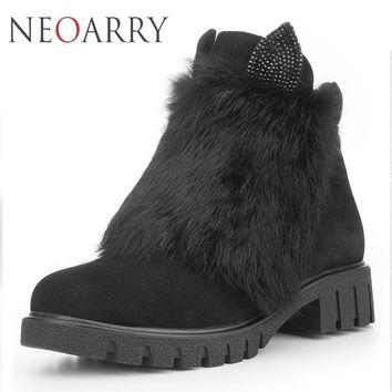 Neoarry Warm Snow Boots Genuine Leather Women Ankle Boots Cow Suede Fur Shoes for Women Ladies Wool Russia Booties Zip LT55