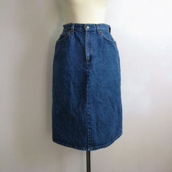 Vintage 1980s Skirt Levi Strauss Blue Cotton Denim Jean Long Skirt 30W Made in USA