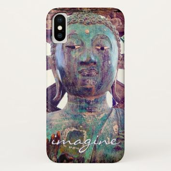 """Imagine"" Quote Asian Turquoise Statue Head Photo iPhone X Case"