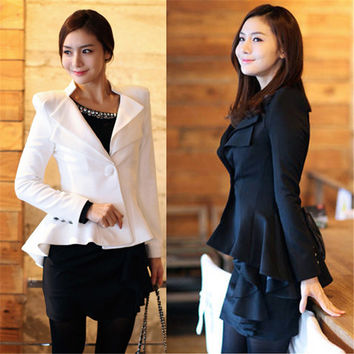 Autumn Women Blazer Cardigan Jacket Coat Swallow Tail Power Shoulder Blazers Black White Women Clothes One button Blazer S - XL