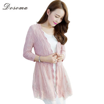 2016 Autumn Elegant Women Long Lace Hollow Out Cardigans Knitting Sweaters Cardigan Ladies Casual Fashion Jacket Coat WomensTops
