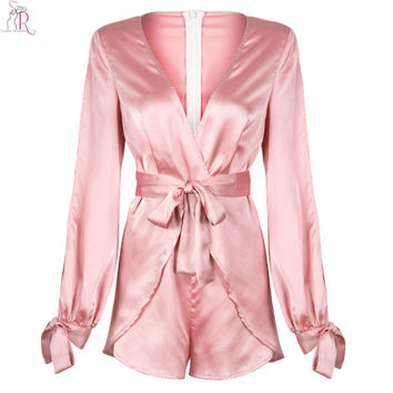 Pink Satin Sateen Long Sleeve Romper Playsuit Bowknot Tied Waist Wrap Casual Deep V Neck Streetwear 2016 Women Autumn Fall