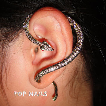 rose gold snake statue Ear Cuff Earrings Swarovski Crystals