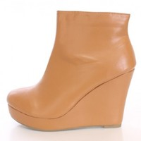 Tan Wedge Ankle Booties Faux Leather