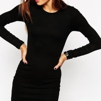 ASOS Mini Bodycon Dress in Rib with Long Sleeves