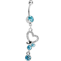 Aqua Crystalline Paved Yearning Hearts Dangle Belly Ring | Body Candy Body Jewelry