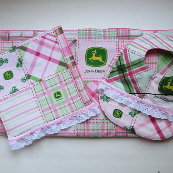 Baby Set: Pink and Green Plaid Blanket, Bib and Burp Cloth set; John Deere fabric