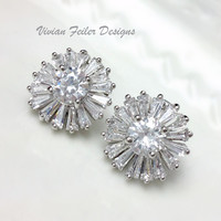 Bridal Earrings Cluster Cubic Zirconia Wedding Jewelry Celebrity - Vivian Feiler Designs | Wedding