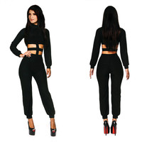 Black Puff Sleeve Cut-Out Waist Jumpsuit