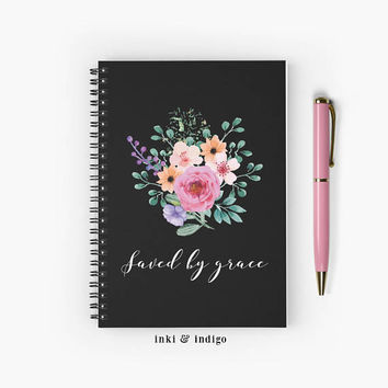 Saved By Grace - Spiral Notebook With Lined Paper, A5 Writing Journal, Diary, Floral Journal, Faith, Prayer Journal
