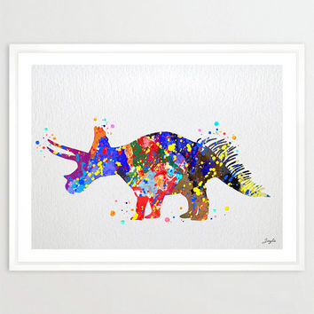 Triceratops Dinosaur Watercolor illustration Art Print,Wall Poster,Nursery/Kids Art Decor Print,Wall Hanging,Wedding,Birthday Gift, #110
