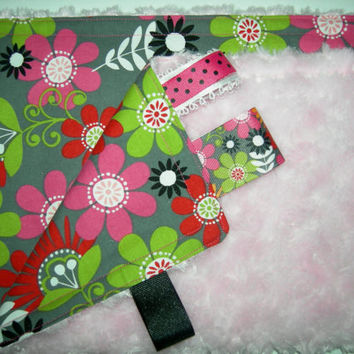 Mod Flowers with Pink Cloud Rosette Minky Taggie Security Blanket