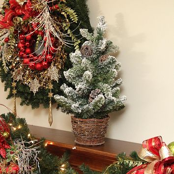 4' Potted Pre-Decorated Frosted Pine Cone  Berry and Twig Artificial Christmas Tree Unlit