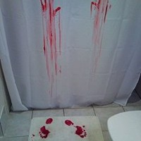 Enllo® Bloody Bath Shower Curtain+blood Bath Mat, Blood Bath Suit!