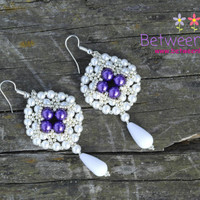 White Earrings, Purple Violet, Matte White Pearls, Beaded Beadwork, Long Large Teardrop Glass Amethyst, Fashion Jewelry, Birthday Gift
