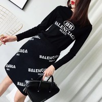 """Balenciaga"" Letter Pattern Print Bodycon Long Sleeve Sweater Women Tops"