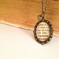 Eponine and Marius from Les Miserables Antiqued Bronze Book Page Necklace