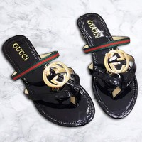 GUCCI tide brand female flat bottom cloth sweat-absorbent breathable beach slippers Black