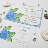 Watercolor hydrangea wedding invitation suite rsvp save the date sample