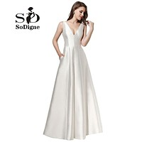 Evening Dress 2017 SoDigne Fancy White Gala Dress A Line Simple Prom Dress V Neck Puffy Satin Cheap Party Dress For Girls New