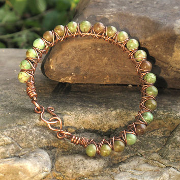 Beaded bracelet - green turquoise stone & copper bangle