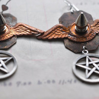 Steampunk Earrings with Metal Spikes and Silver Pentagrams