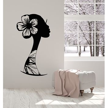 Vinyl Wall Decal Profile Woman Face Flowers Hairstyle Sketch Stickers Mural (g2791)