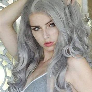 Long Grey Wave Synthetic Lace Front Wig