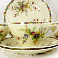 3 Crown Ducal Florentine Tea Cups and Saucers, Matching Vintage Teacups 12599