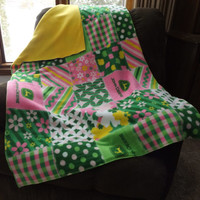 Pink John Deere and Yellow Fleece Double Layer Crib Blanket, Toddler Bed or Throw Blanket, Lap Blanket, 2 Layer