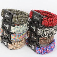 550 Paracord Bracelet Military Escape Survival Gear Parachute Cord Wristband with Flint Fire Starter Emergency Rope Whistle Kits