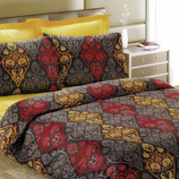 Custom Queen Size Mustard Yellow and Brick Red by MyveraLinen