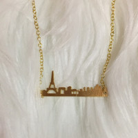 Gold Paris Skyline Necklace
