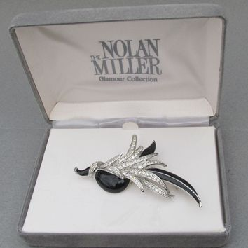 MINT In Original Box NOLAN MILLER Vintage 1990's Black Enamel Crystal Pavé Tropical BIRD Silver Tone Pin Brooch