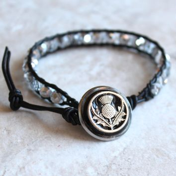 Scottish thistle bracelet - crystal silver