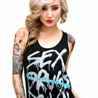 Sober Is Sexy Sex & Rock N' Roll Tank Top in Heather Black