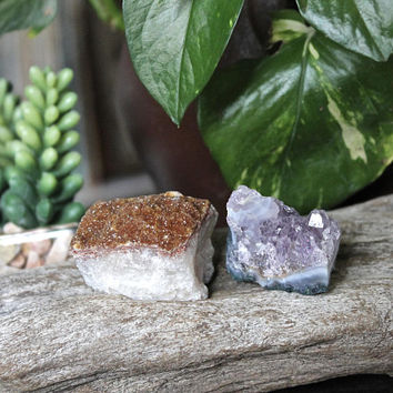 Amethyst & Citrine Crystal Cluster SET OF 2