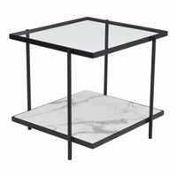 ZUO Modern Winslett 100994 End Table Clear & White & Matt Black