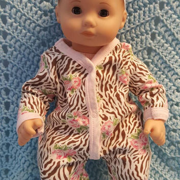 "Baby Doll Clothes to fit 15 inch baby doll ""Wild Roses"" doll outfit with sleeper and headband hair clip  M7"