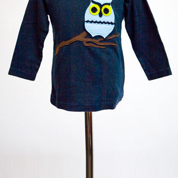 Navy Owl on Branch Felt Applique Tee or Onesuit