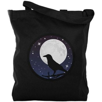 CREYCY8 Raven Crow Moon Night Sky Silhouette Canvas Tote Bag
