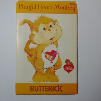 Butterick 3376 Playful Heart Monkey Care Bear Cousin Sewing Craft Doll Pattern UNCUT