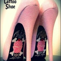 Cupcake On A Bone Custom Heels by The Tattoo Shoe