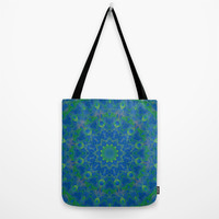 Bluegreen therapy art - Serenity mandala Tote Bag by Giada Rossi