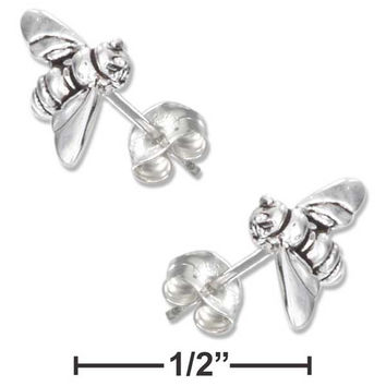 STERLING SILVER MINI BUMBLE BEE EARRINGS ON STAINLESS STEEL POSTS AND NUTS